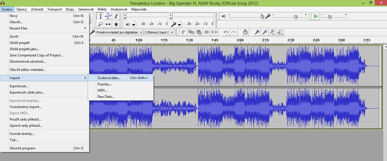Import zvukovyýh dat v Audacity