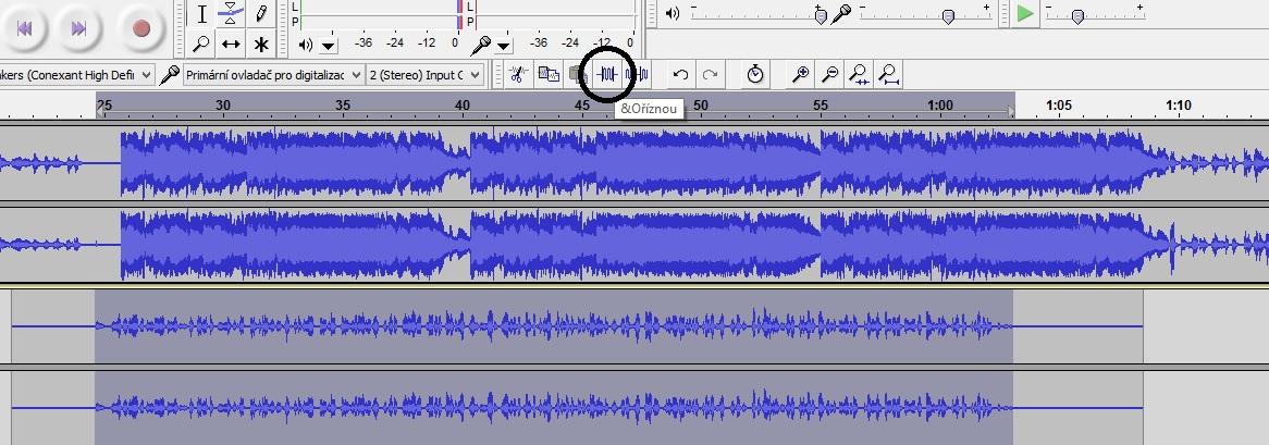 Oříznutí zvukové stopy v Audacity